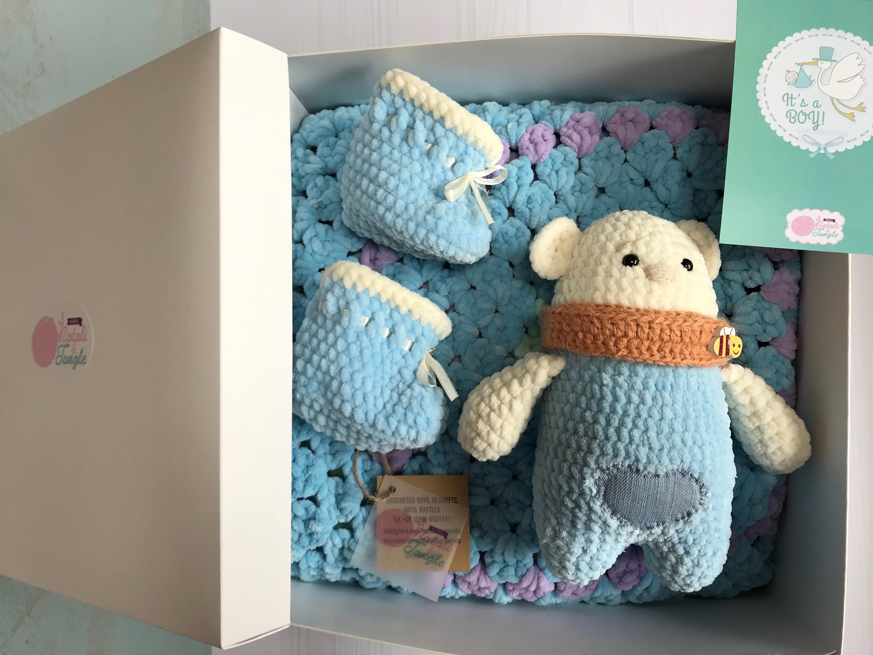 Crochet Baby Boys Set Plush Blanket Bear Newborn Boots Stuffed Knit Amigurumi Baby Shower Gift Infant Shoes Baptism Winter Pregnancy Gift