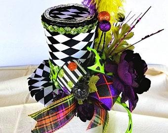 mini top hat, top hat, wreath embellishments, wreath, centerpiece picks, halloween hat, mad hatter hat, steampunk hat, harlequin hat