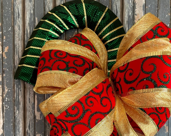 Candy Cane Decor, Gold, Green, and Red Christmas Candy Cane, Christmas Decor, Front Door Christmas Decorations, Candy Cane Wreath
