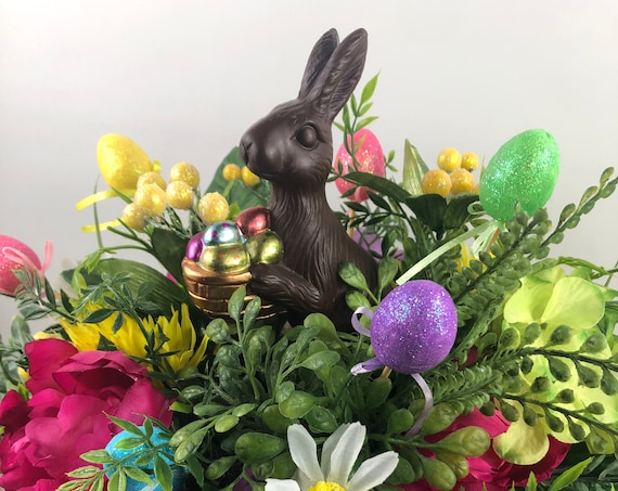 Easter Decorations, Spring Centerpiece, Spring Floral Arrangement, Easter Bunny Arrangement, Spring Decor, Easter Bunny Floral, Silk Floral