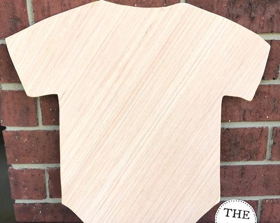 Unfinished Wood, Onesie, Door Hanger, Nursery Decor, Baby Reveal, Birth, Announcement