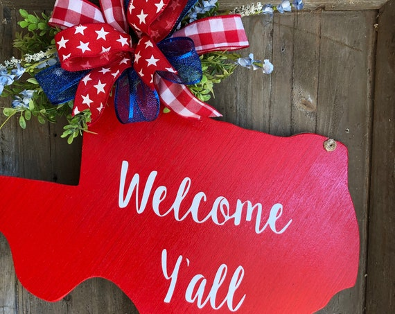 Texas, Wood Texas Sign, Welcome Y'all, State Sign, Texas Door Hanger, Welcome Y'all Door Hanger, Texas Sign with Floral Accents and Bow