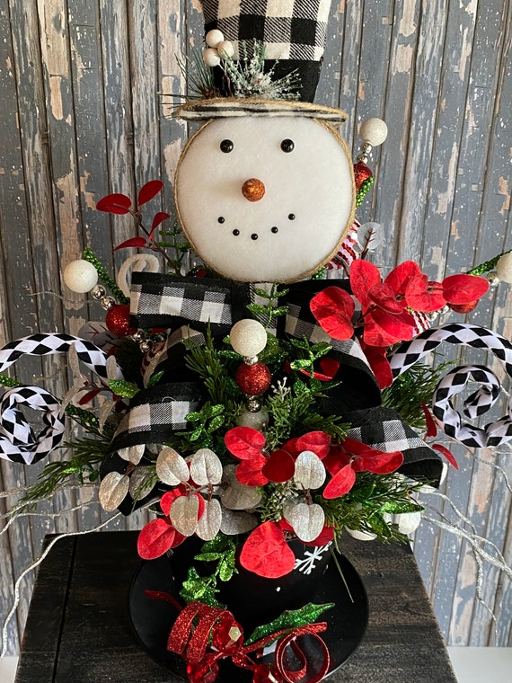 Snowman Hat Arrangement, Christmas Centerpiece, Buffalo Plaid Snowman Hat, Snowman Decor, Christmas Decor, Christmas Table