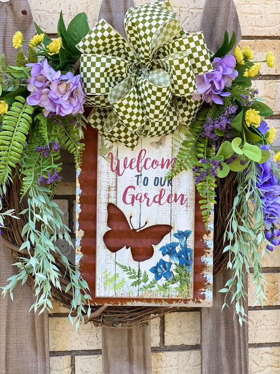 Butterfly Wreath, Front Door Wreath, Summer Decor, Grapevine, Wreath for Home, Welcome to Our Home