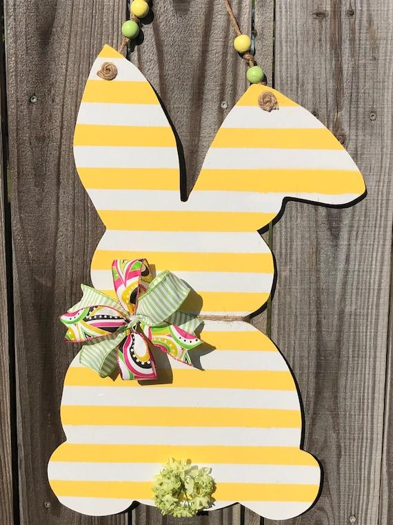 Easter, Door Hanger, Bunny, Rabbit Door Hanger, Easter Decor, Yellow and White Bunny, Wooden Bunny, Spring Decorations, Wooden Bunny Rabbit