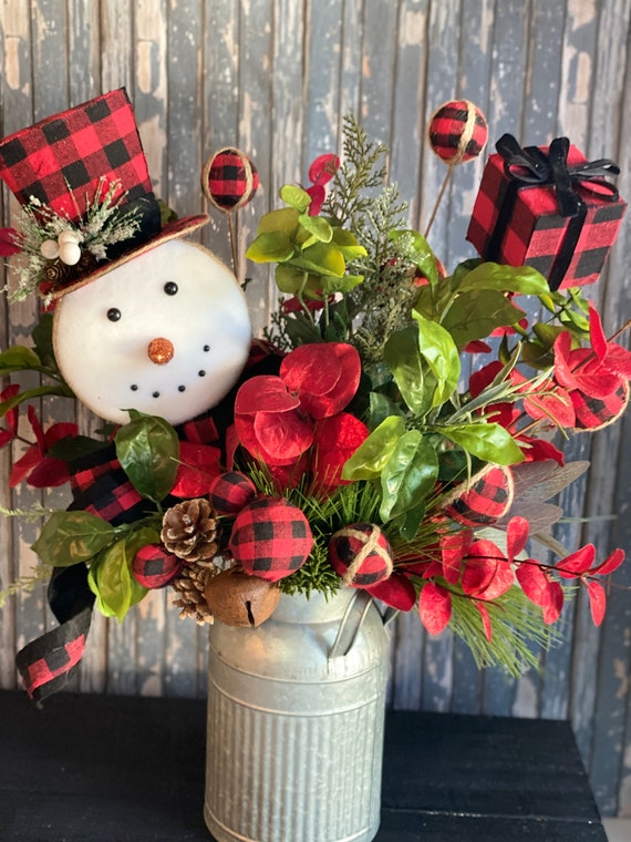 Christmas Centerpiece, Red and Black Check Christmas Decor, Holiday Arrangement, Snowman, Snowman Decor, Buffalo Plaid Snowman Centerpiece
