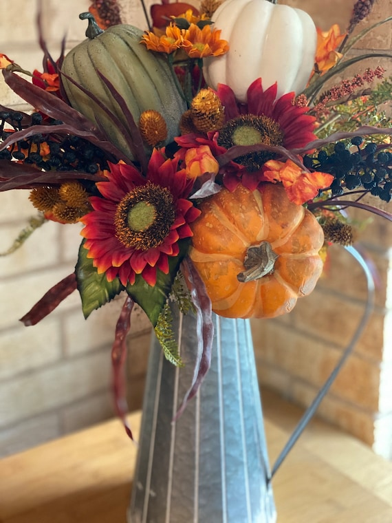 Fall Flower Arrangement, Farmhouse Floral, Fall Floral, Pumpkins