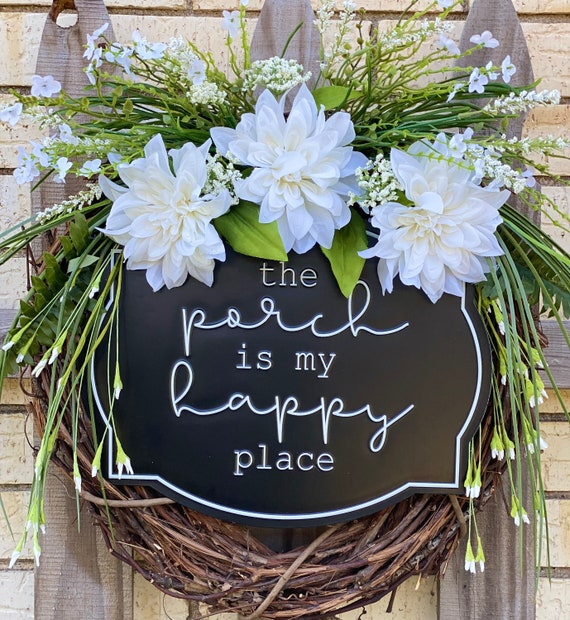Front Door, Everyday Wreath, The Porch is my Happy Place, Farmhouse Wreath, Black and White Wreath, Grapevine Wreath
