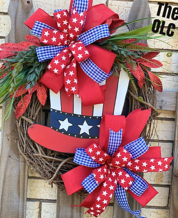 Patriotic Wreath, 4th of July, America, Uncle Sam, Memorial Day, Red, White, and Blue
