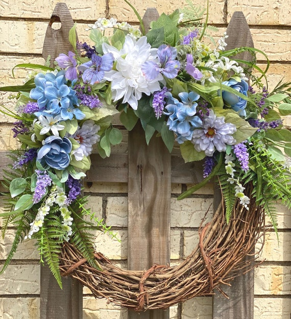 Wreath, Lavender, Blue, White, and Green Grapevine Wreath with Wisteria, Zinnias, a Hydrangea, and Greenery, Front Door Wreath