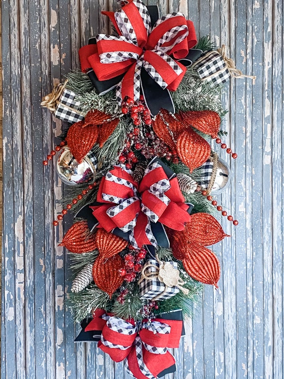 Christmas Door Swag Wreath, Buffalo Check Swag, Christmas Wreath, Holiday Door Decor, Christmas Decorations