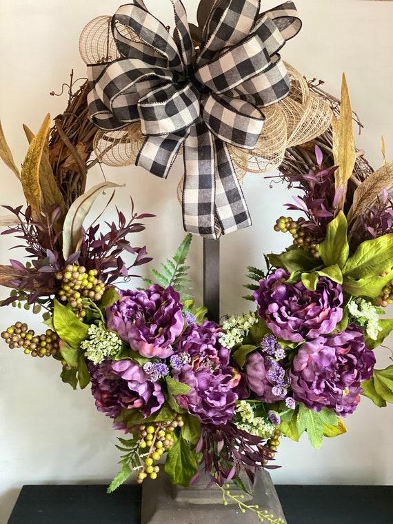Everyday Wreath, Front Door Wreath, Home Decor, Floral Wreath, Grapevine, Peony wreath