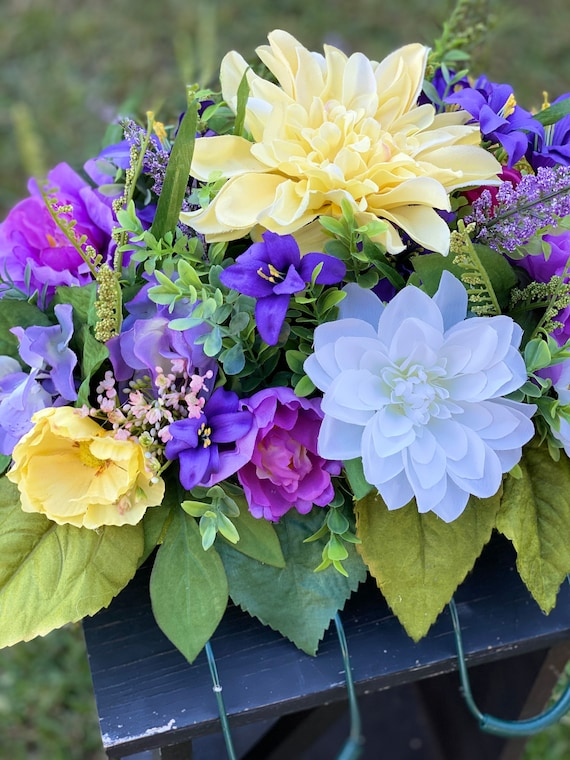 Headstone Saddle, Yellow Flowers, Purple Flowers, Floral Mix, Arrangement, Grief and Mourning, Headstone Saddle, Flower Saddle, Memorial
