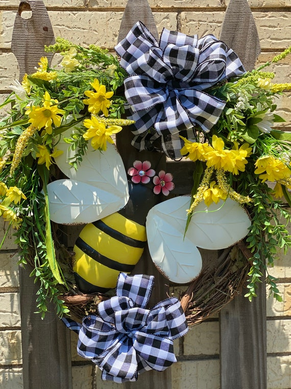 Bumble Bee Wreath, Welcome Wreath, Bee Decor, Bee Front Door Wreath, Bee Wreath Attachment, Spring Wreath, Summer Wreath