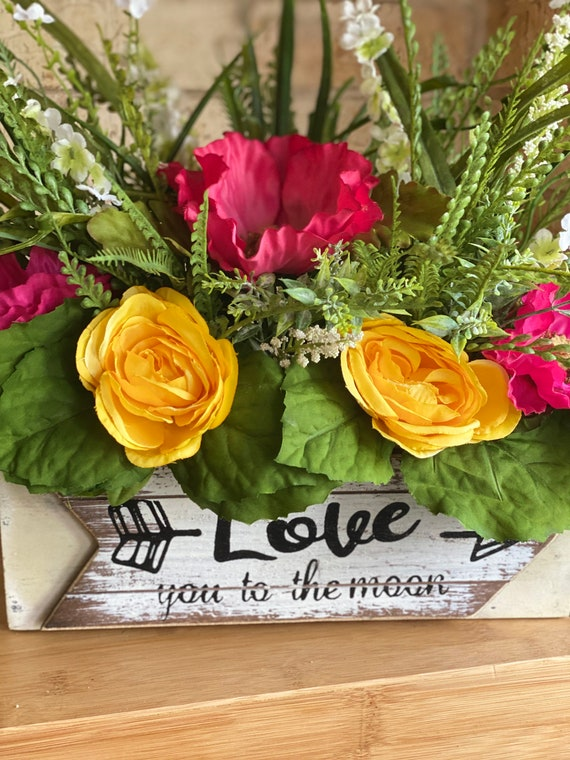 Love You To The Moon Flower Arrangement, Farmhouse Flower Arrangement, Table Top Planter, Wood Box, Yellow and Pink Floral