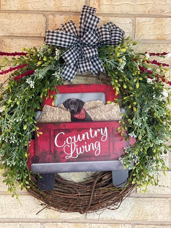 Wreath, Red Truck Wreath, Dog Wreath, Buffalo Check, Everyday Wreath, Front Door Wreath, Grapevine Wreath with Red Truck