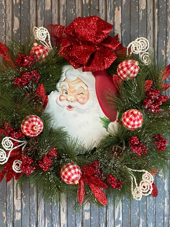 Santa Wreath, Christmas Door Wreath, Holiday Decor, Santa Door Wreath, Front Door Wreath