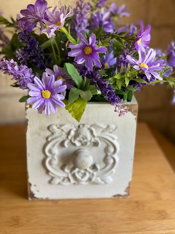 Flower Arrangement, Lavender, Daisies, and Greenery, Planter Box, Tabletop Centerpiece, Farmhouse Floral, Home Decor