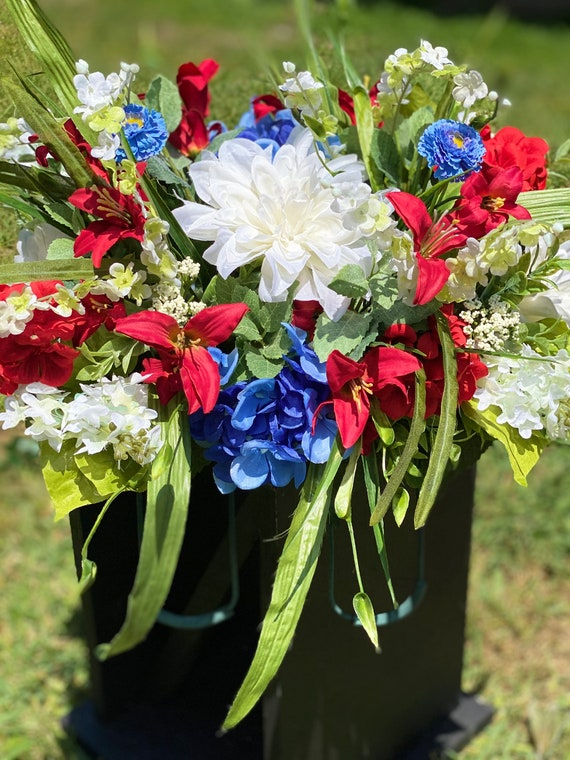 Headstone Saddle, Memorial, Red, White, and Blue  Cemetery Saddle Arrangement, Memorial Flowers Cemetery, Headstone Saddle