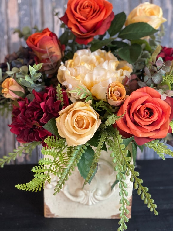 Fall Centerpiece, Fall Flowers, Harvest Decor, Fall Table Arrangement, Fall Arrangement, Fall Decor, Autumn Home Decor, Fall Peony and Roses