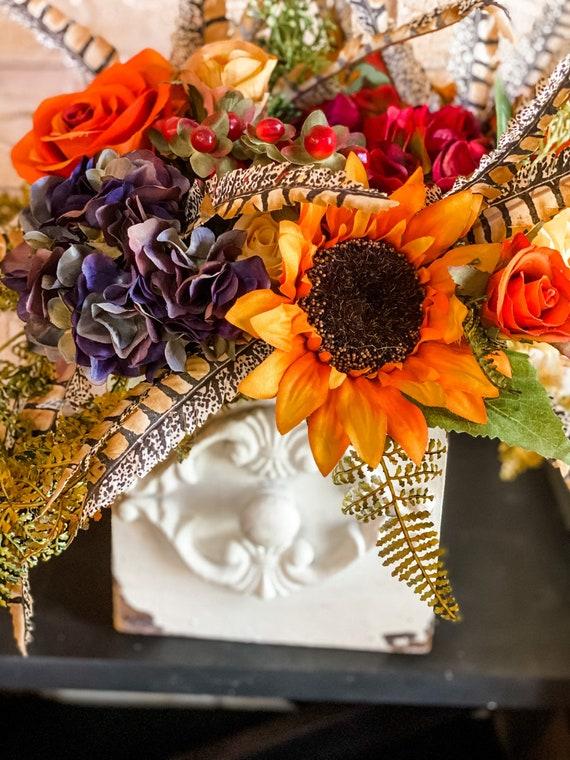 Fall Flowers, Sunflower Centerpiece, Rustic Planter, Silk Flowers, Fall Decor, Flower Arrangement