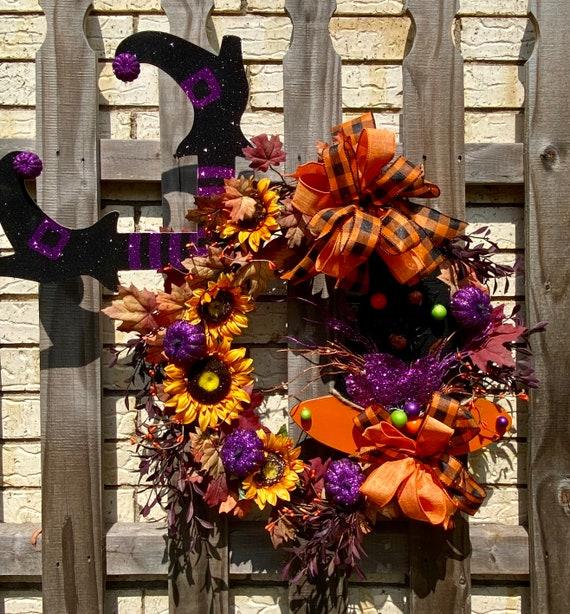 Halloween Decor, Witch Wreath, Front Door Halloween Wreath, Witch Grapevine Wreath, Halloween Decorations