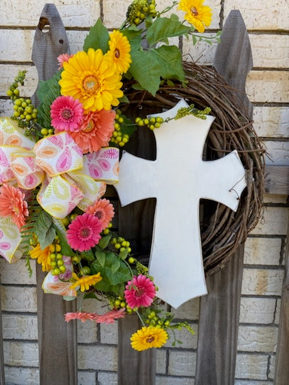 Cross, Wreath, Cross Decor, Front Door Wreath, Spring  and Summer Wreath, Door Wreath, Home Decor, Everyday Wreath with Cross Attachment