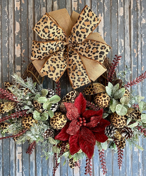 Christmas Front Door Wreath, Leopard Print Wreath, Holiday Door Wreath, Winter Wreath, Holiday Decor, Christmas Decor