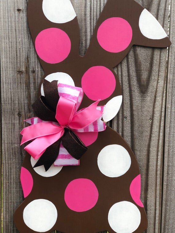 Wood Bunny, Easter, Door Hanger, Easter Decor, Polka Dot Bunny, Spring Decorations, Wooden Bunny Rabbit