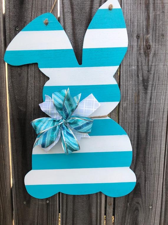 Easter, Door Hanger, Bunny, Rabbit Door Hanger, Easter Decor, Blue and White Bunny, Wooden Bunny, Spring Decorations, Wooden Bunny Rabbit