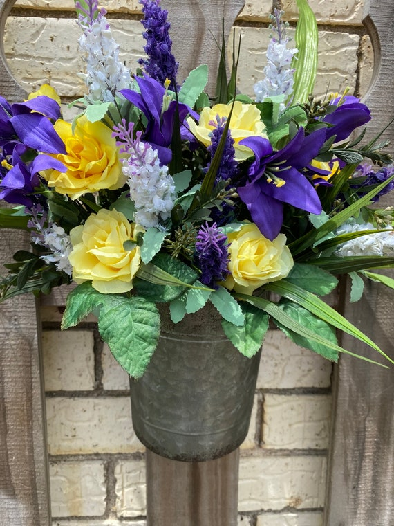 Spring Flowers, Hanging Flower Set, Yellow Roses, Lilies, Lavender, and Greenery, Metal Containers, Everyday Floral, Matching Floral Set