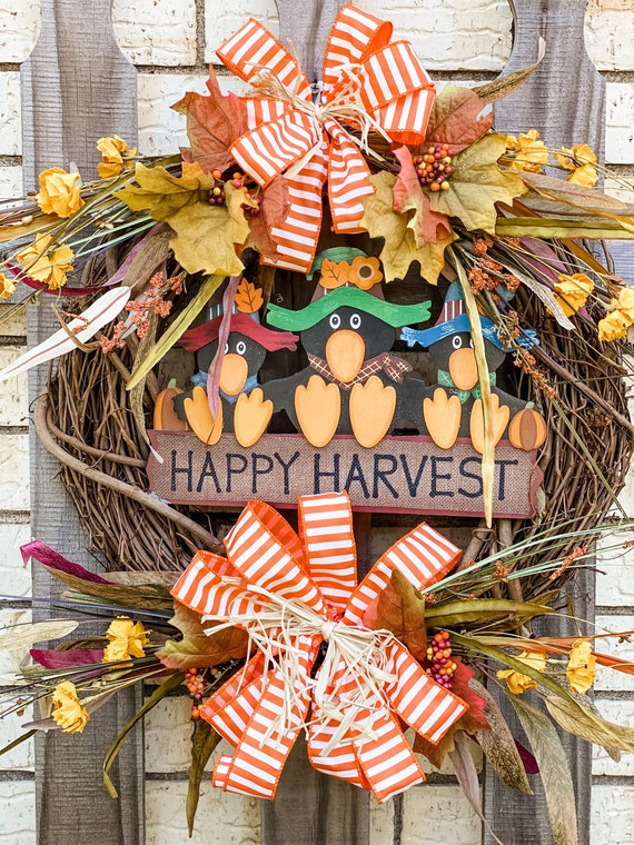 Fall Wreath, Happy Harvest Wreath with Crows, Fall Decor