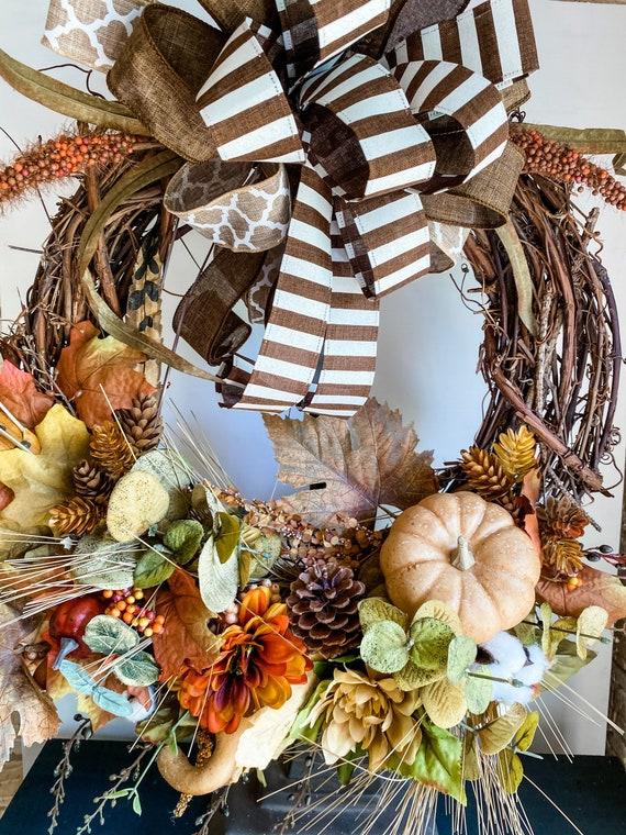 Fall Wreath, Front Door Decor, Pumpkin Wreath, Fall Decor