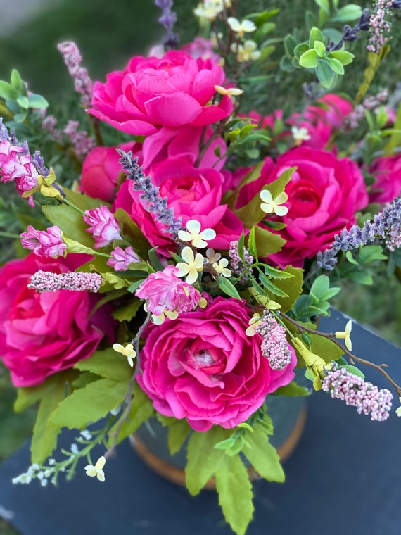 Farmhouse, Pink Roses, Lavender, Pink, Yellow, and Mixed Greenery Arrangement, Farmhouse Metal Container Arrangement