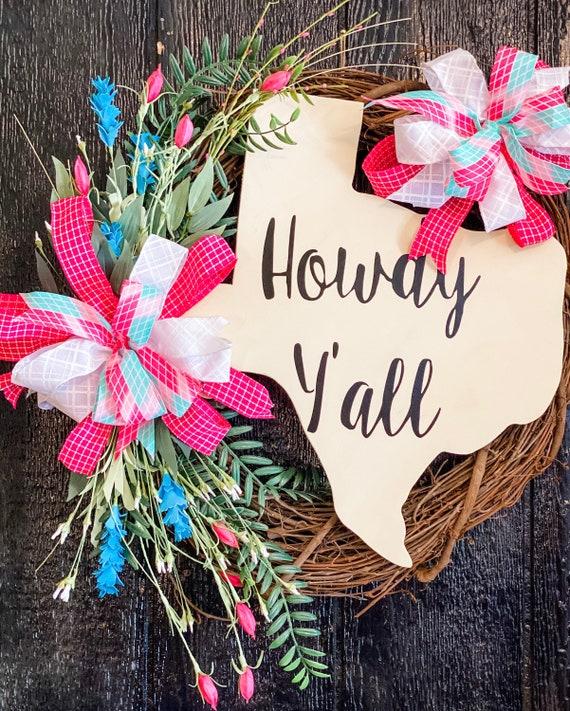 Texas Decor, Texas Wreath, Grapevine Wreath, Front Door Wreath, Everyday Wreath, Howdy Y'all, Texas Sign