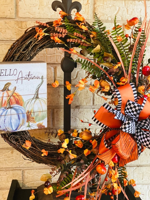 Welcome Autumn Fall Grapevine Wreath, Fall Decor, Front Door Wreath, Pumpkin Wreath