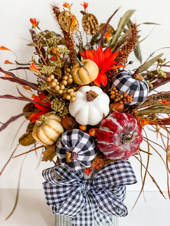 Buffalo Check, Fall Flower Arrangement, Fall Decor, Fall Floral