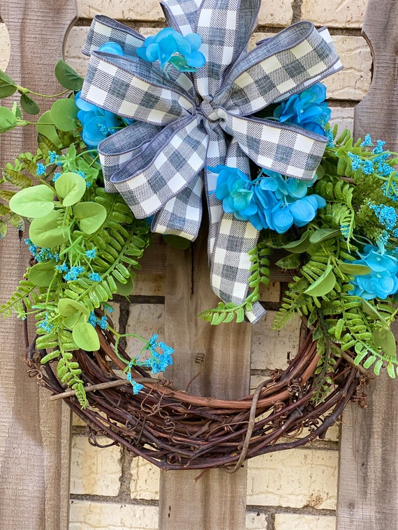 Front Door Wreath with Gray and White Bow, Everyday Wreath, Wreath for Home, Decorative Grapevine Wreath