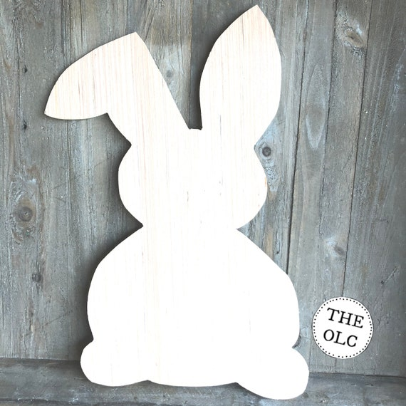Unfinished Bunny Rabbit Wood Cut Out, Unfinished Wooden Door Hanger, Unfinished Wood Rabbit, Easter, Spring Cut Out, Spring Door Hanger