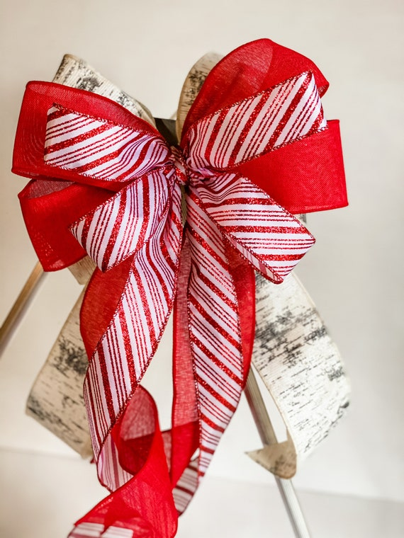 Christmas Wreath Bow, Candy Cane Ribbon, Wired Ribbon