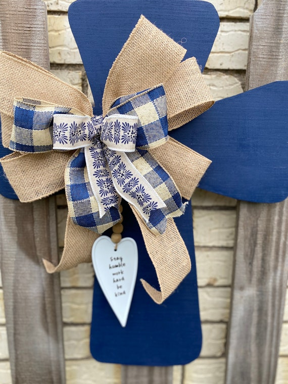 Cross, Cross Wall Decor, Rustic Wall Decor, Wood Cross Wall Hanging, Wall Decorations, Home Decor, Cross with Heart, Navy Blue Decor