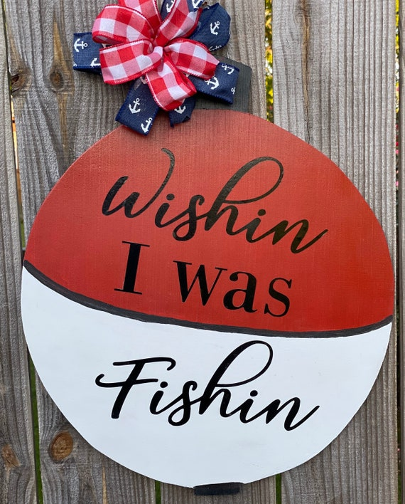 Wood Sign, Fishing Decor, Fishing Theme Wall Decor, Wishin I Was Fishin Wood Sign, Man Cave Decor, Lake House Decor, Father's Day Gift