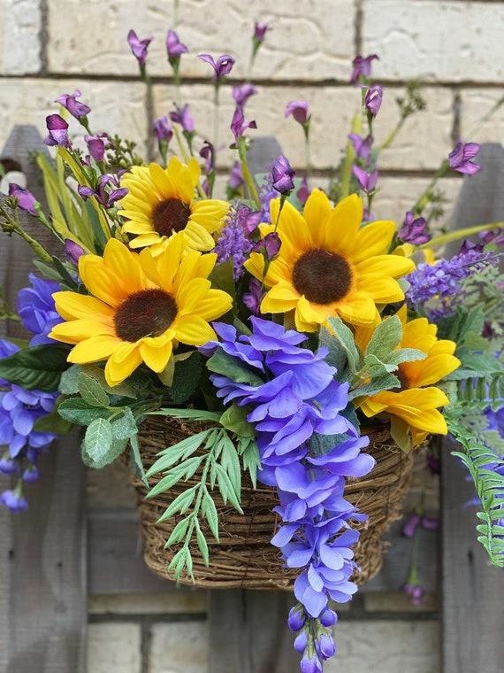 Sunflowers, Hanging Basket, Floral Decor, Flower Arrangement, Floral Home Decor, Silk Flower Arrangement