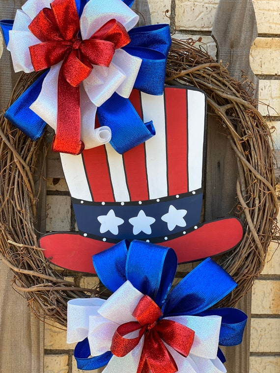 Patriotic Wreath, 4th of July, America, Uncle Sam, Memorial Day, Americana Decor, Summer, Front Door, USA Home Decor, Red, White, and Blue