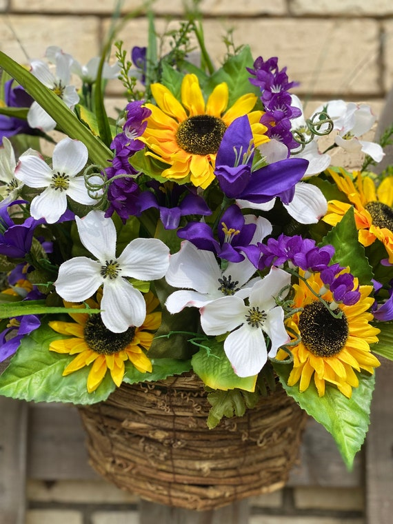 Sunflowers, Hanging Basket with Sunflowers and Mixed Floral Stems, Sunflower Arrangement, Sunflower Decor