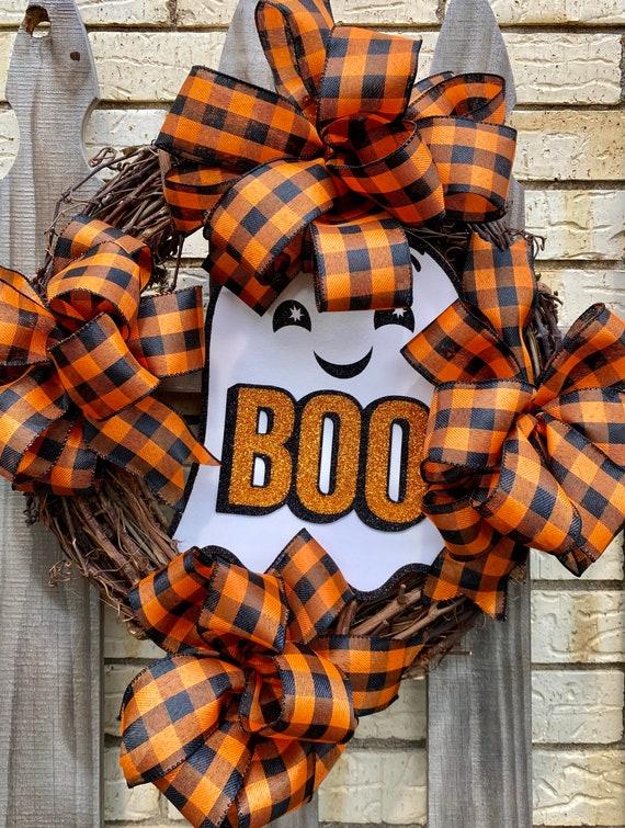 Halloween Wreath, Ghost Grapevine Wreath. Fall Decor, Halloween Decorations, Front Door Wreath