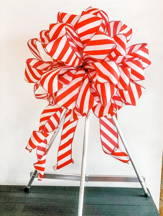 Christmas Tree Topper Bow, Candy Cane Bow, Christmas Decor, Christmas Ribbon
