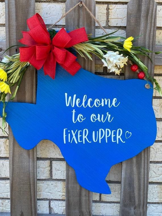 Texas, Welcome to our Fixer Upper, Rustic Texas Decor, Texas Wall Decor, Texas Door Hanger, Texas Wall Hanging, Texas Gifts