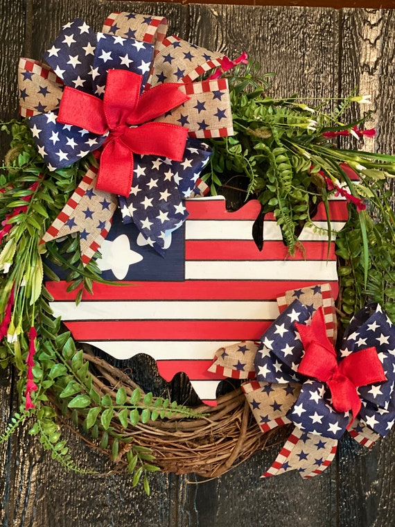 Patriotic Wreath, USA, 4th of July, Front Door Wreath, Summer Decor, Red, White, and Blue Wreath, USA Wreath, Americana, Memorial Day