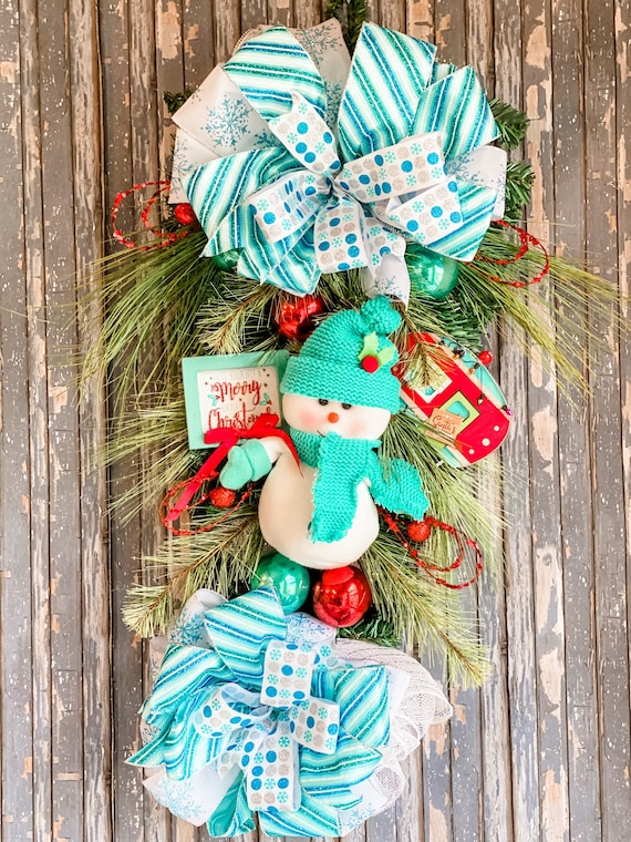 Christmas Swag, Snowman Wreath, Holiday Swag, Front Door Christmas Decor